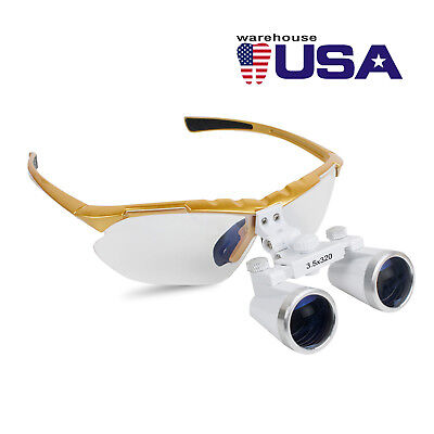 Usa Yellow Medical Dental Surgical Binocular Loupes 3.5x 320mm Optical Glass