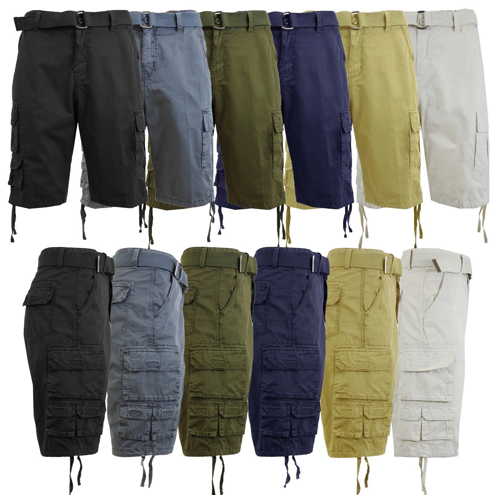 Mens Cargo Shorts With Belt Vintage Lounge 100% Cotton Multi-Pockets Hiking NEW Clothing, Shoes & Accessories