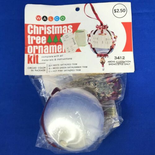 Walco Christmas Ornament Kit 3412A White Satin Red Trim Beaded Vintage