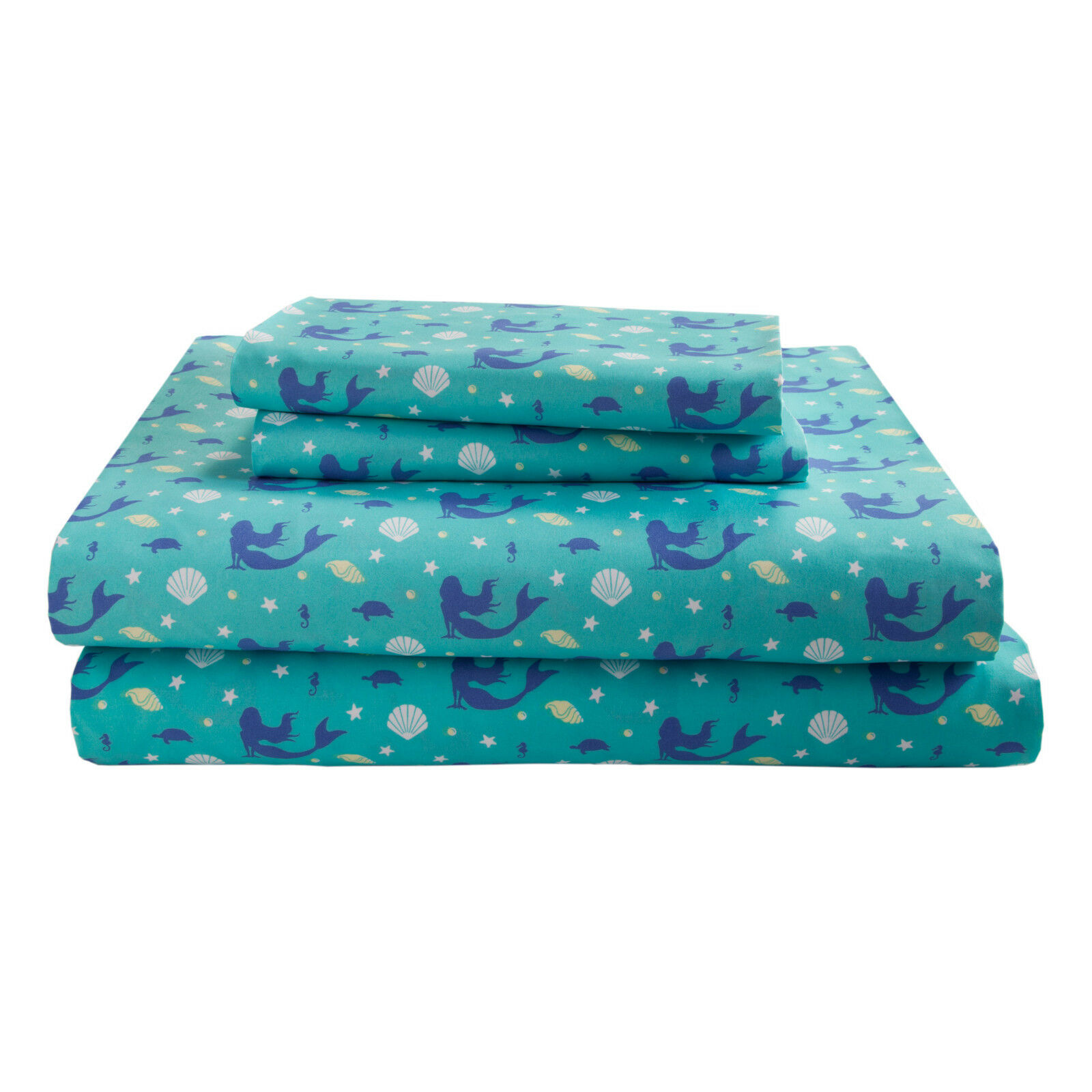 Mermaid Twin Full or Queen Sheet Set Microfiber Coastal Ocean Bedding, Teal Blue Bedding
