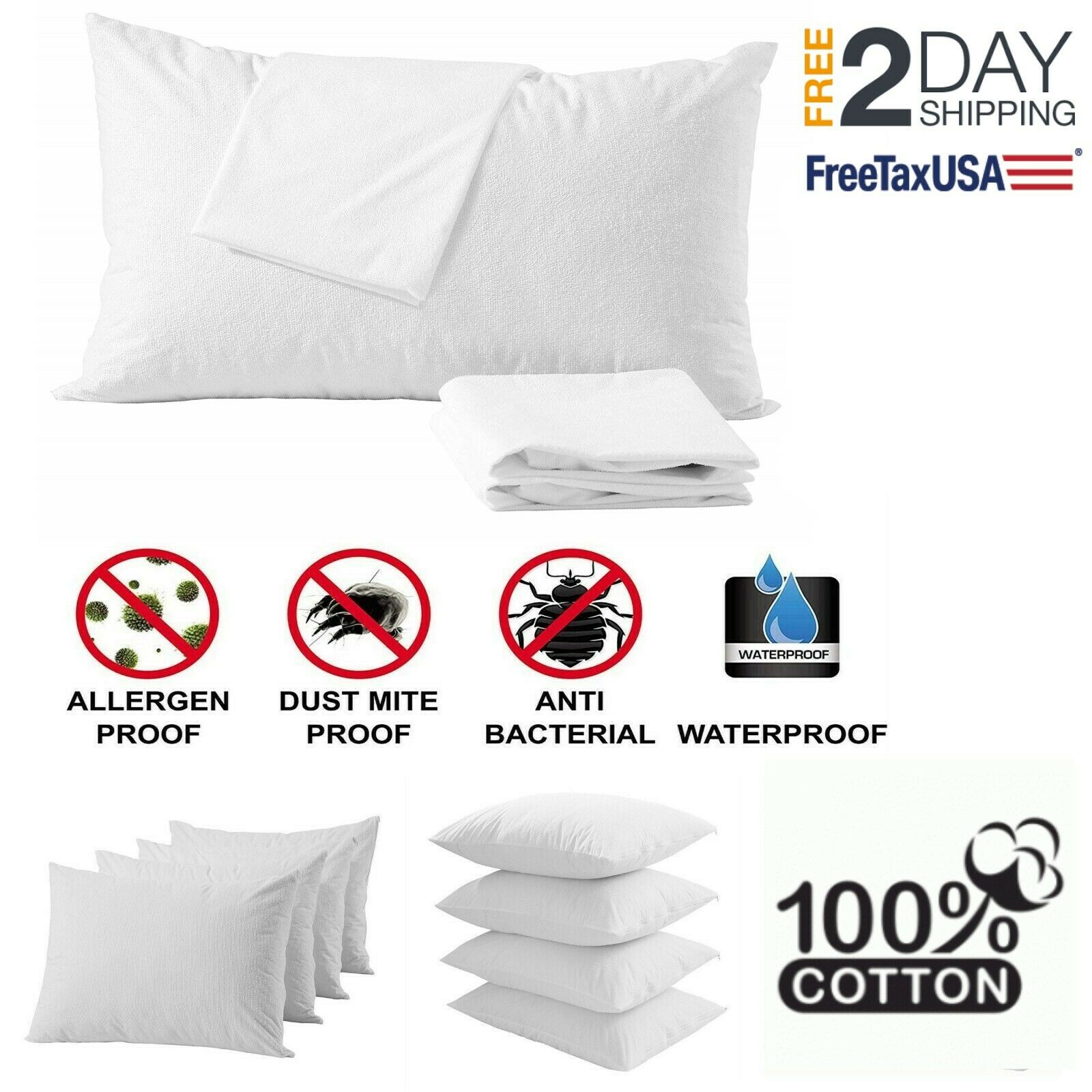 4 Pillow Protector Cover Case Waterproof 20x36 Zippered Terr
