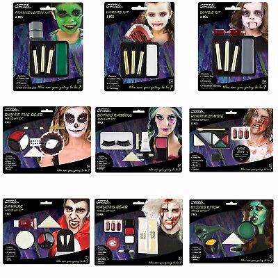 HALLOWEEN MAKE UP KIT Vampire Zombie Witch Frankenstein Day of Dead FACE - Day Of Dead Face Paint Halloween
