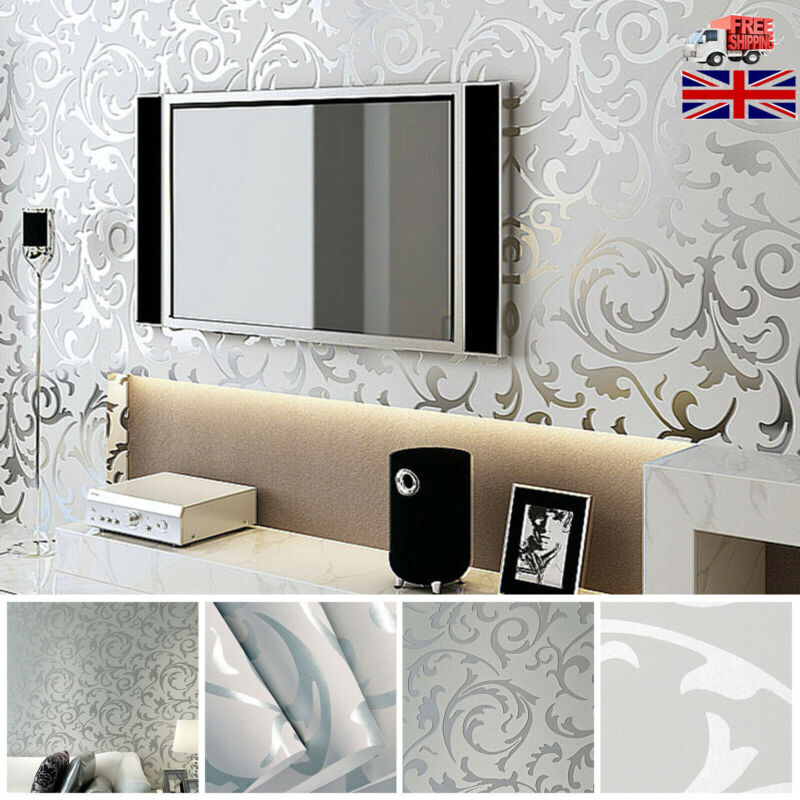 Home Decoration - UK Silver Grey Victorian Damask Luxury Wallpaper 3D Embossed Featured Wall Cove
