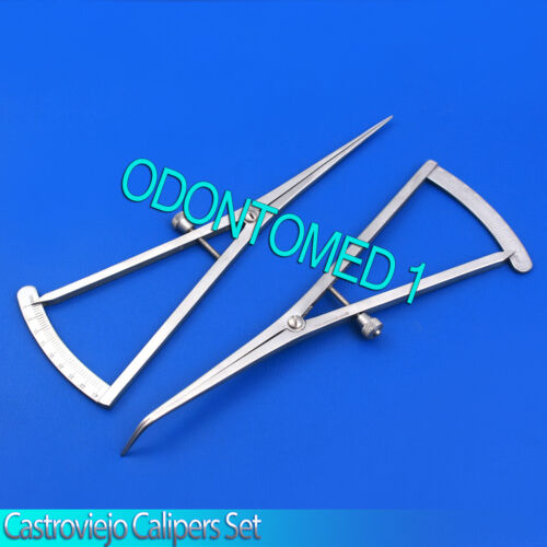 """Set Of 2 Castroviejo Calipers Straight,Curved 7"""" Dental Surgical Instruments"""
