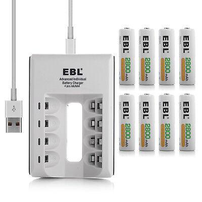 8 Pack EBL 2800mAh AA Ni-Mh Rechargeable Batteries + AA AAA