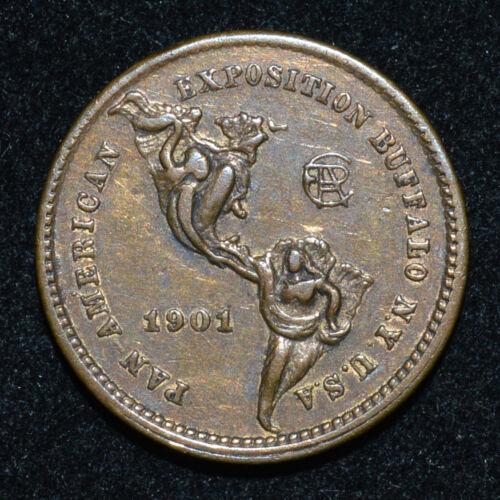 1901 Pan American Expo Buffalo Meldrum Token Ch AU NY L-TM22 Brass 21mm