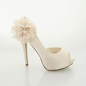 WOMENS WEDDING SHOES LADIES HEELS SATIN BRIDAL BRIDESMAID PARTY SHOES SIZE 3 - 8