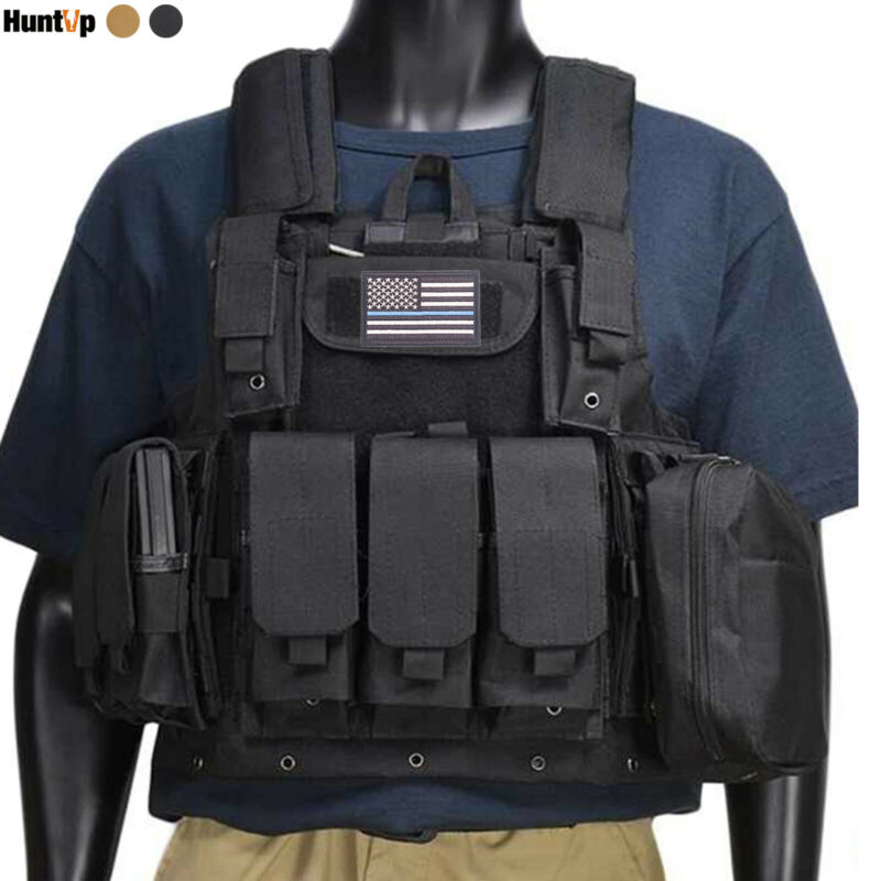 Military Tactical Vest Loaded Gear Molle Airsoft Army Front & Back Plate Carrier