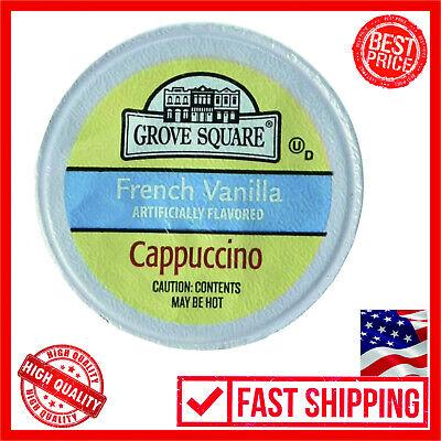 Grove Square Cappuccino French Vanilla 50 Single Serve Cups Coffee Flavors Bold French Vanilla Flavoring