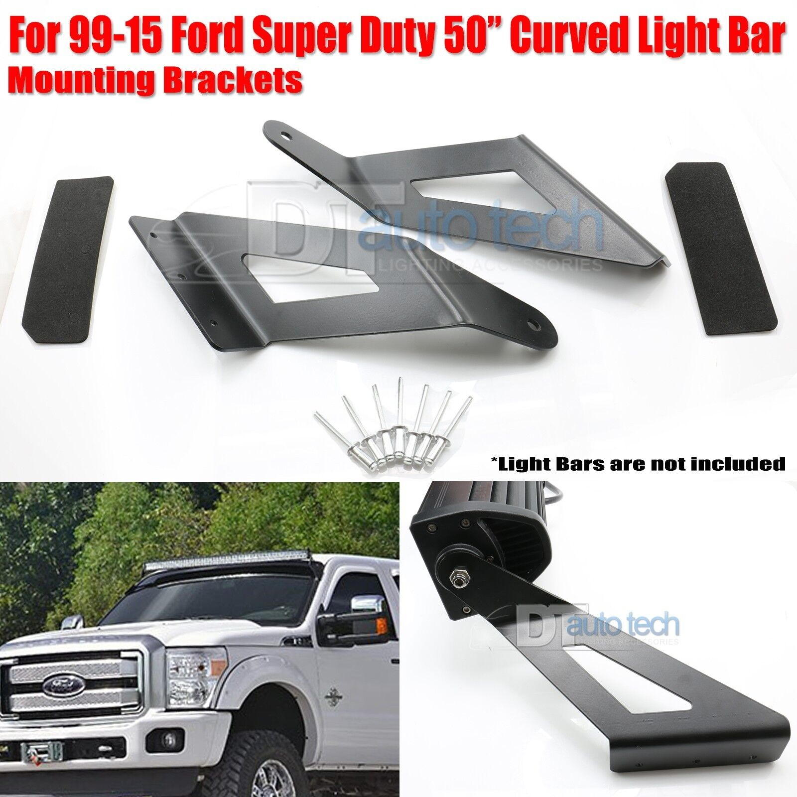 99-15 Ford F250 50 Inch Curved LED Light Bar Upper Windshield ...