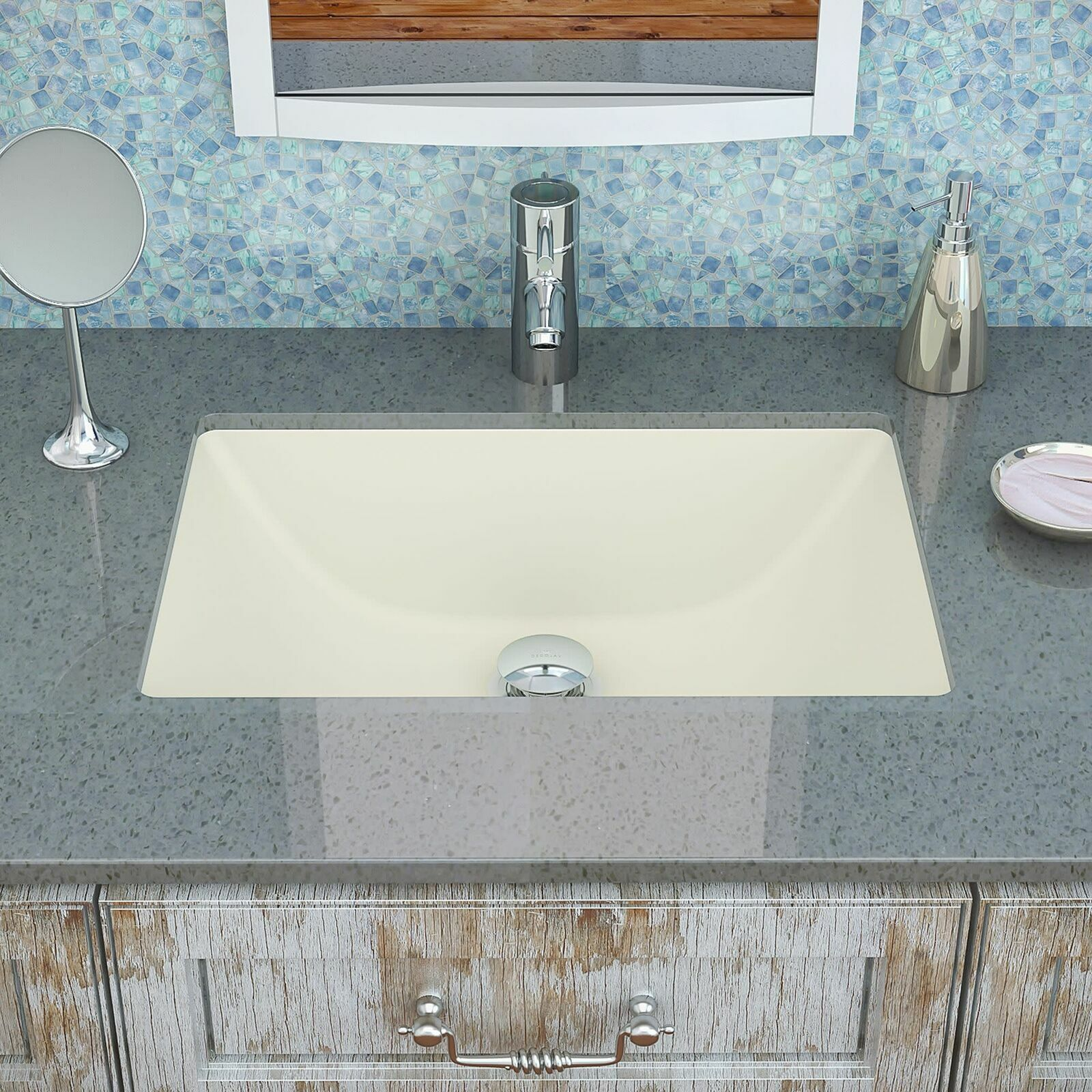 Classic Rectangular Undermount Bathroom Sink with Overflow -