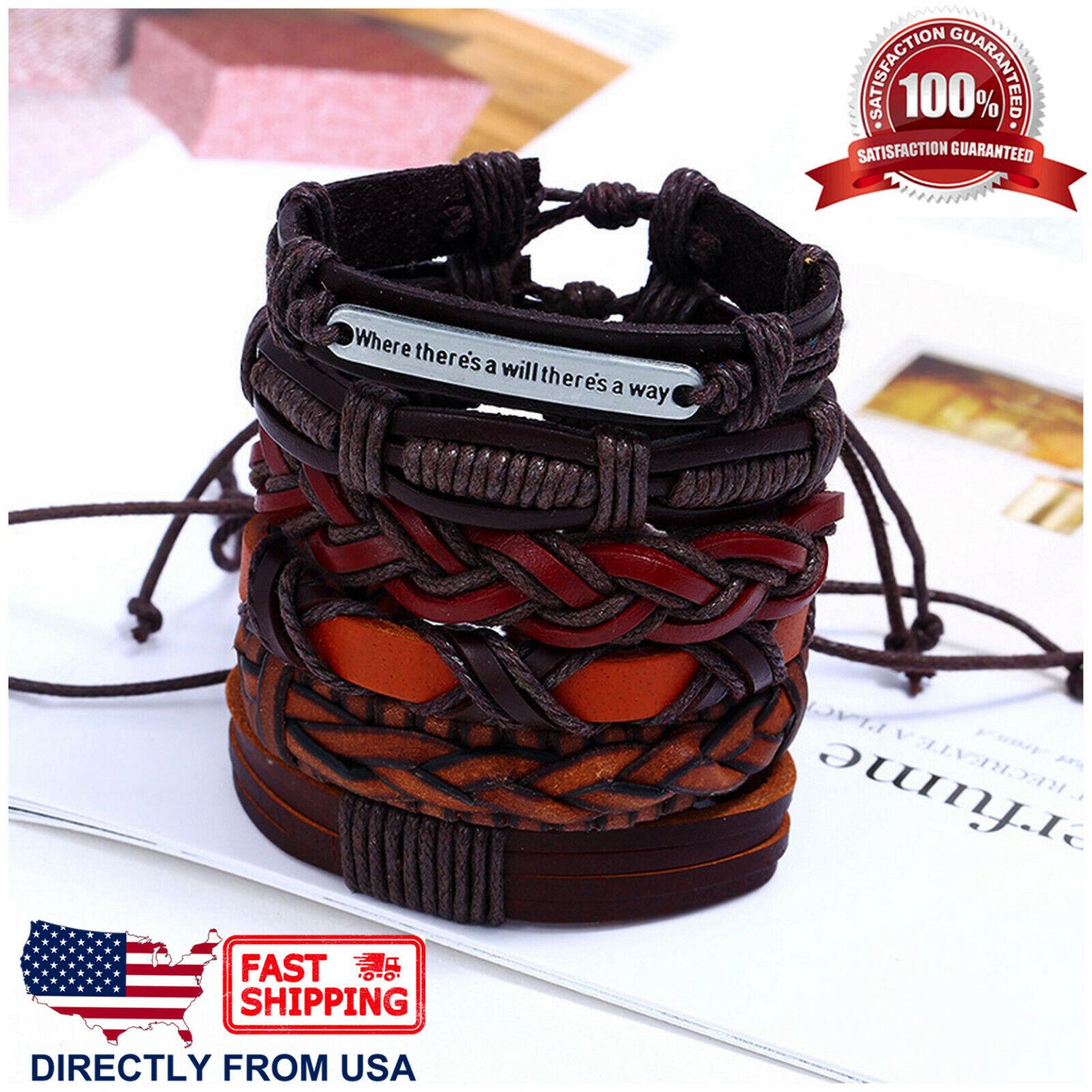 6pcs Set Brown Orange Coffee Braided Leather Men Women Cuff Wristband Bracelet Bracelets