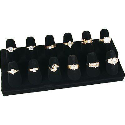 12 Finger Black Velvet Ring Showcase Counter Top Display Jewelry Holder