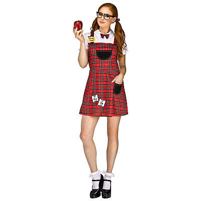 Womens Nerd Bookworm Student Teachers Pet Halloween Costume Plaid Dress Glasses - Bookworm Costume