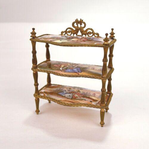 Old or Antique Miniature Viennese Enamel & Gilt Bronze Shelf - Dollhouse VR
