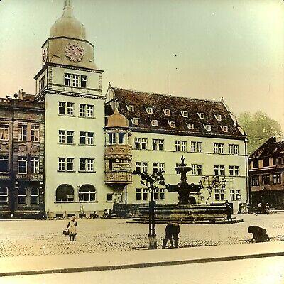 Antique Color Magic Lantern Glass Slide Photo New Town Hall Rudolstadt (Glasses Newtown)