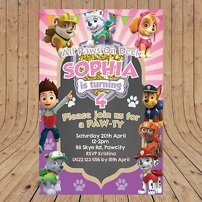 Personalised DIGITAL PAW PATROL Girls Birthday Party Invitations YOU PRINT - Girl Birthday Party Invitations