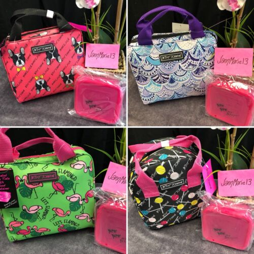 NEW! Betsey Johnson Lunch Box Tote Bag & Container PUG DOG F