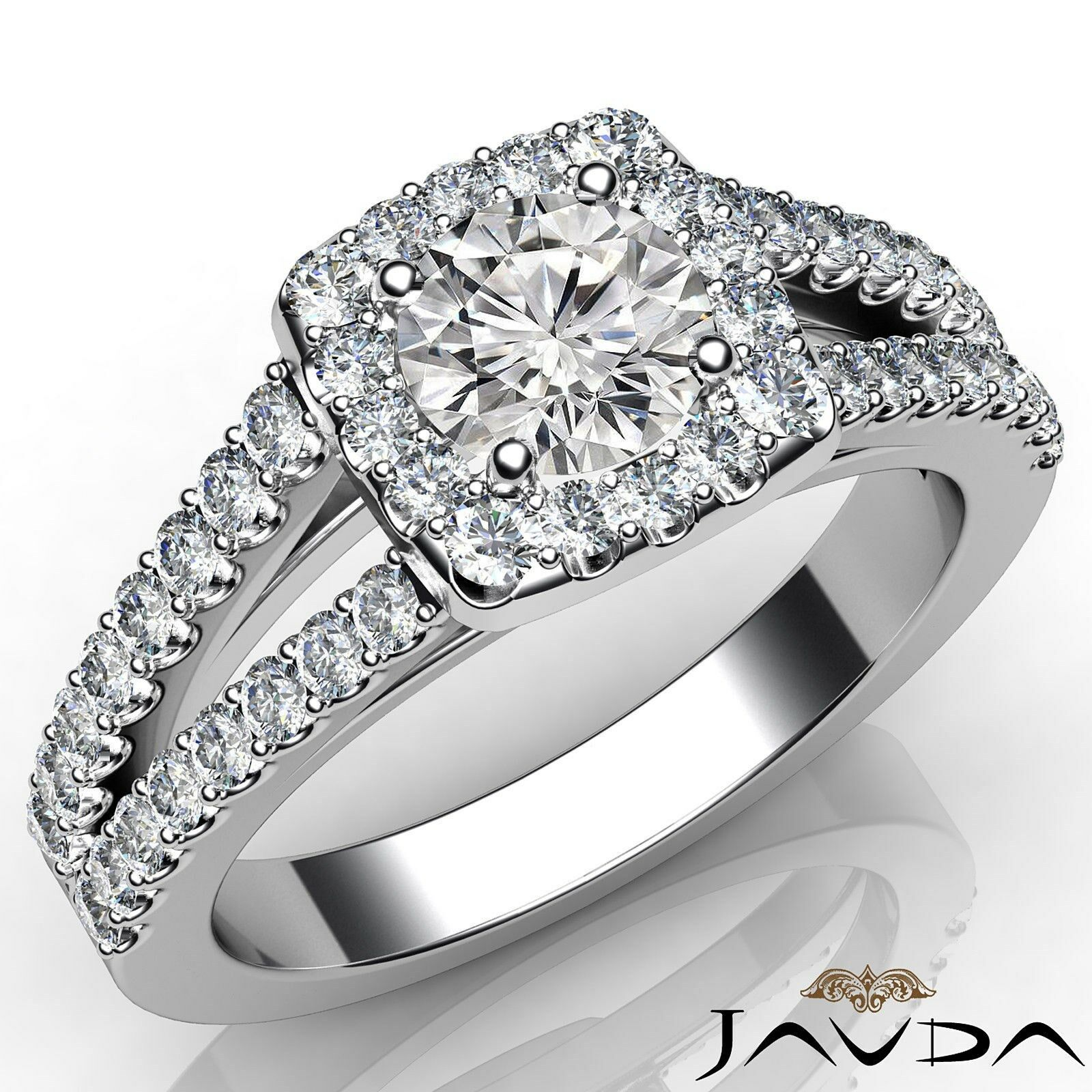 Halo Split Shank Round Diamond Engagement French Pave Ring GIA F VS2 1 1/4 Ct.