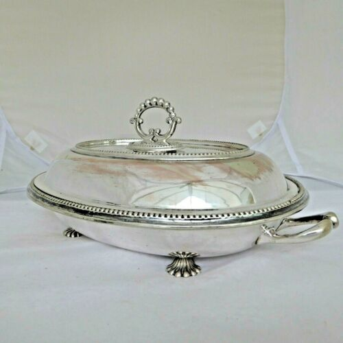 ANTIQUE SILVER PLATE ENTREE DISH HOTWATER STAND AND INSERTS 4 PIECE SET - F BROS