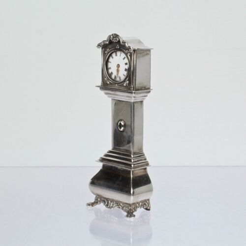 Vtg Hooijkass Factory Dutch Miniature Dollhouse Solid Silver Tall Case Clock SL