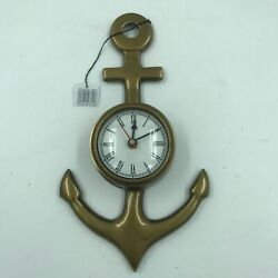 Nautical Brass Anchor Wall Clock Antique Finish Maritime Decor for the Captain