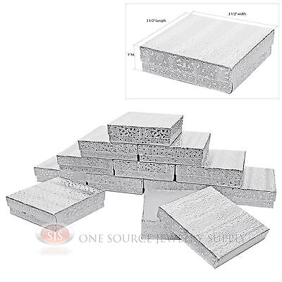 12 Silver Foil Cotton Filled Jewelry Display Gift Boxes 3 12 X 3 12 X 1