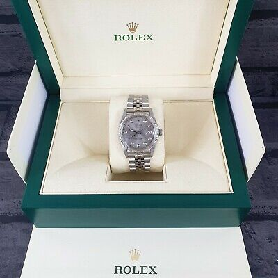Mens Rolex Oyster Perpetual Datejust in Steel & White Gold - Grey Diamond Dial