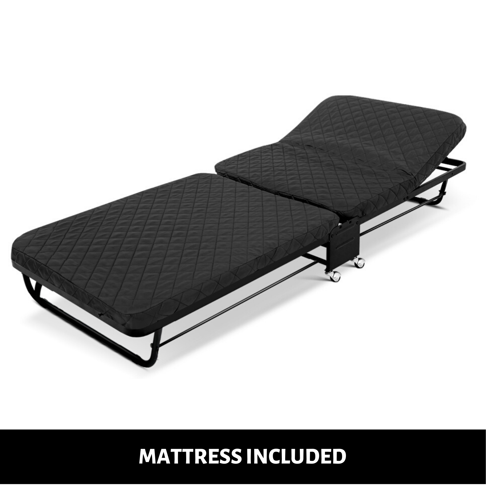 Portable Folding Bed with Mattress Wheels Camping Guest ...
