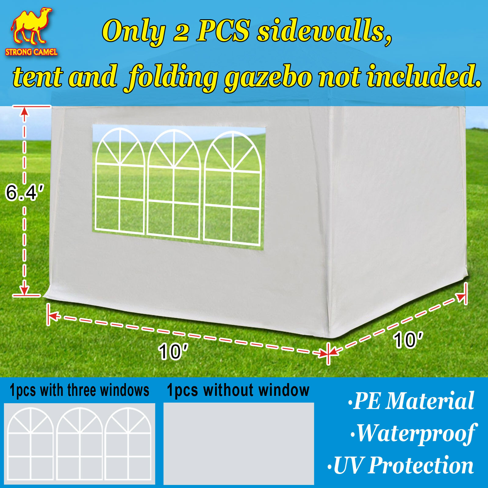 10' x 10' Tent SIDEWALLS for  Pop up Canopy Outdoor Side Panels w/window