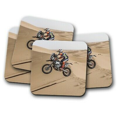4 Set - Motorcross Dune Race Coaster - Bike Biker Dakar Motorcycle Gift #12616 - Dune Gift Set