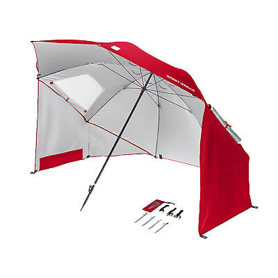 Sport Brella 8 Foot All Weather Portable Sun Tent Shelter Umbrella Canopy, Red