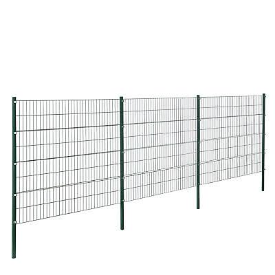 [pro.tec]® Gartenzaun 6x1,6m Grün Doppelstab Zaun Set Gittermatten Metallzaun