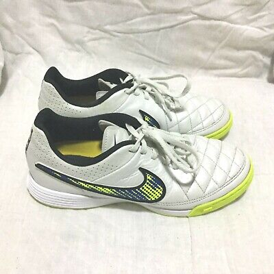 a257e4f0c NIKE TIEMPO INDOOR SOCCER SHOES - WHITE BLACK YELLOW ( SIZE 4Y ) YOUTH