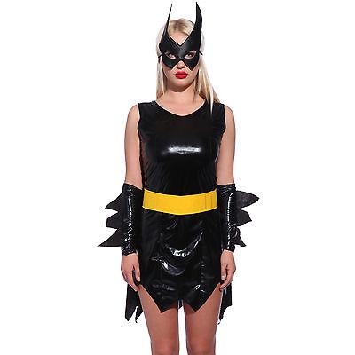 Karneval Sexy Superhelden Batman Batgirl Kostüm + Umhang Maske Fancy Mottoparty