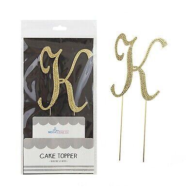 Mega Crafts - Sparkling Rhinestone Letter K Cake Topper - Gold, 1PC