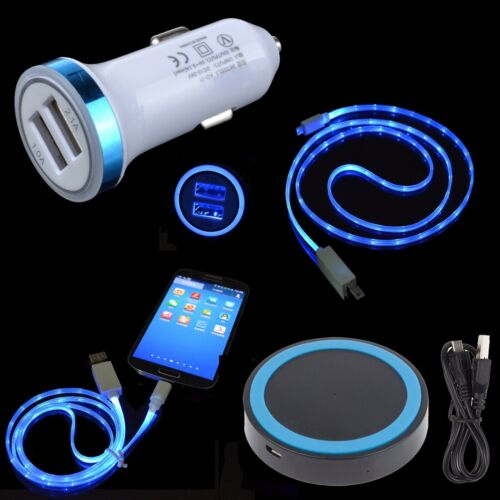 LED Car Charger USB Cable QI Wireless Pad for Samsung Galaxy
