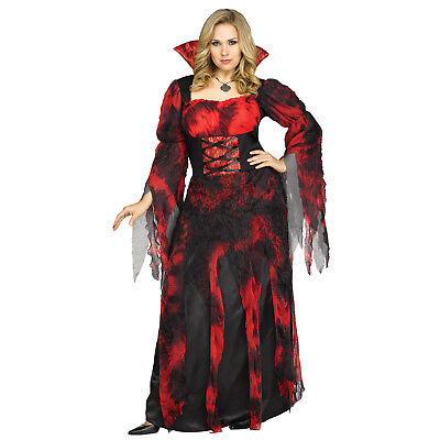 Fun World Adult Woman's Vampire Countess Halloween Costume, Dress Up - Vampire Dress Up