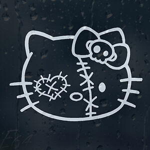 Funny-Hello-Kitty-Darned-Ugly-Zombie-Face-Car-Decal-Vinyl-Sticker