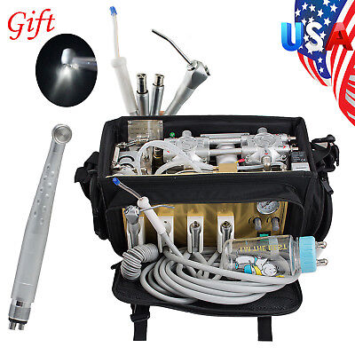 Us Portable Dental Turbine Unit Air Compressor Suction System Bag Syringe Gift