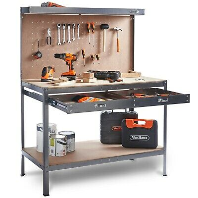 VonHaus Garage Workbench Pegboard Tool Storage Reinforced Heavy Duty Extra Steel