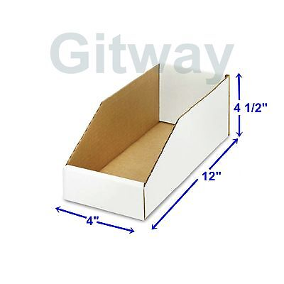 "50- 4 X 12 x 4 1/2"""" Corrugated Cardboard Open Top Storage Parts Bin Bins Boxes"