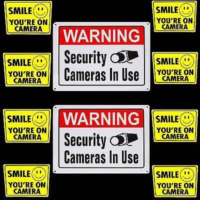Metal Security Camera In Use Warning Yard Signssmile Decal Stickers