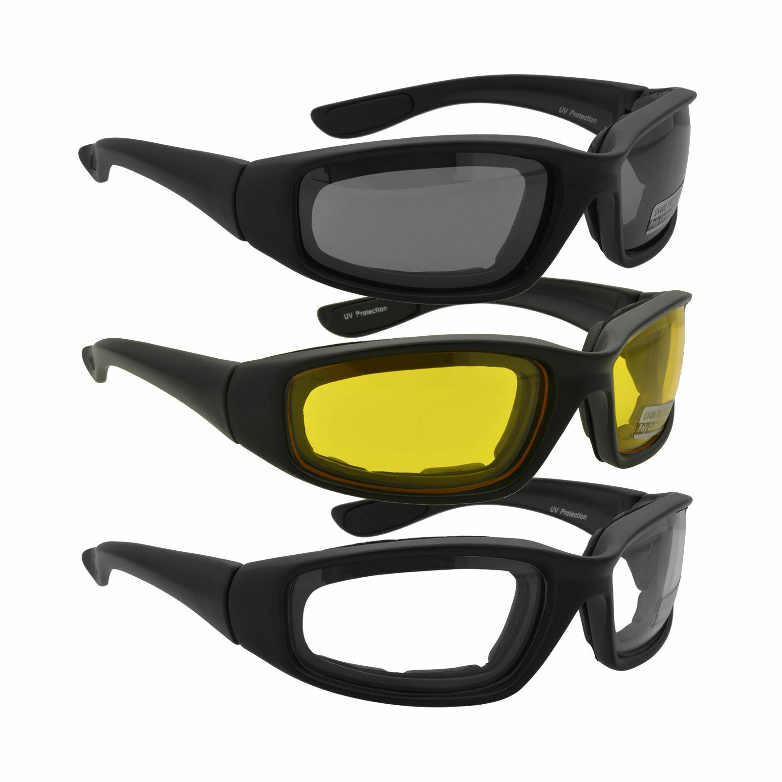 3PC Combo Motorcycle Riding Glasses Colors Sunglasses Wind Resistant Bike Goggle