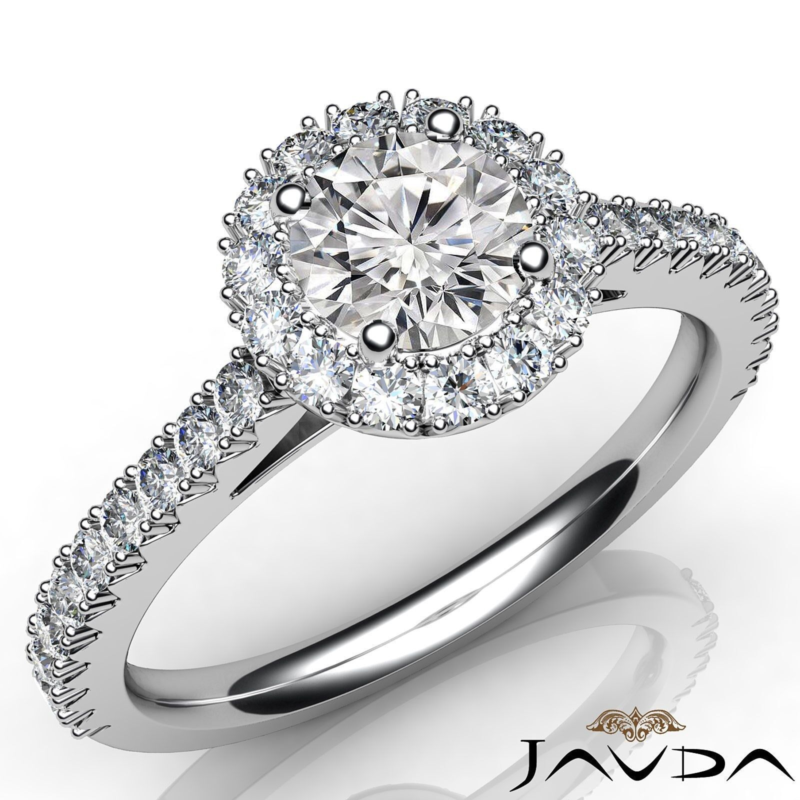 French Cut Pave Halo Round Diamond Engagement Ring GIA Certified F VS2 1.50 Ct