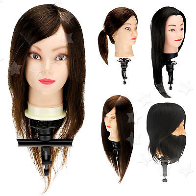"14""/18""/22"" STYLE HUMAN HAIR BEARD PRACTICE HAIRDRESSING TRAINING HEAD W/CLAMP"