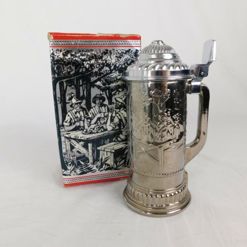 Vintage Avon Hunters Stein Original Box Nickel Plated NO AFTER SHAVE INCLUDED