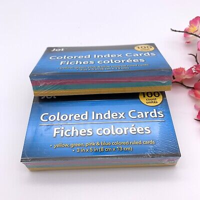 Index Cards Ruled 3 X 5 100 Cards Ideal For Presentations Colored Set Of 2 200