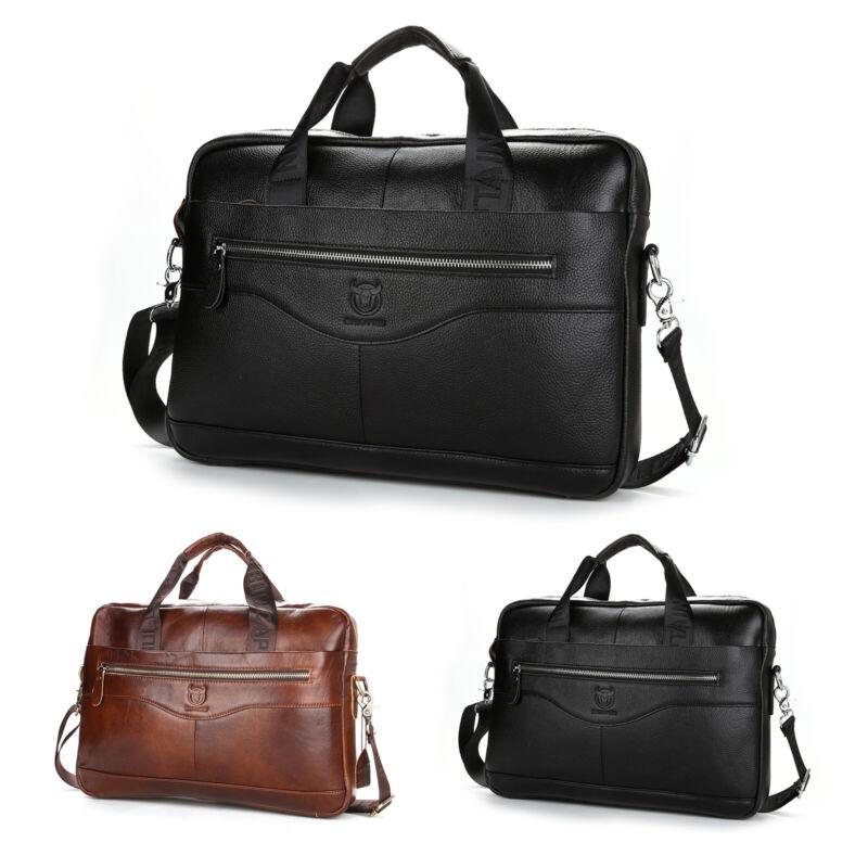 Herren Echt Leder Aktentasche Schultertasche Handtasche Umhängetasche Tasche DE