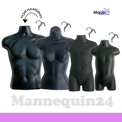 4 Black Mannequin Torsos Set - Male Female Child Toddler Torso Forms